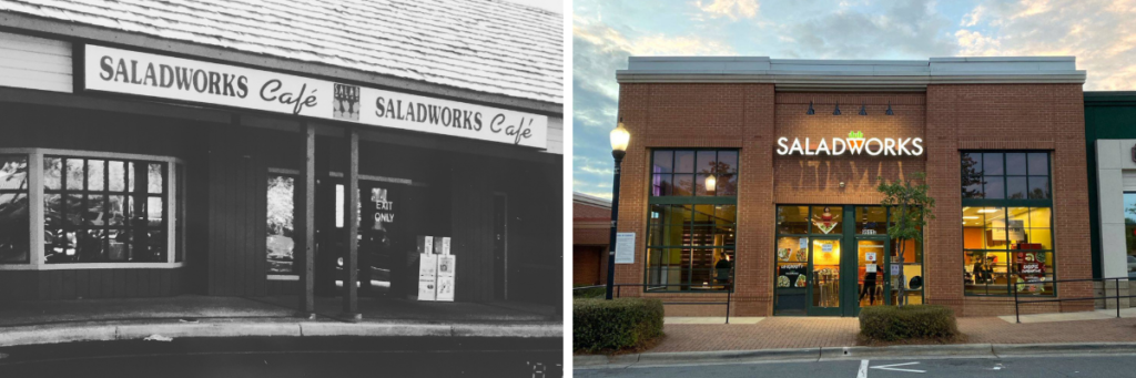 Saladworks Outside Then & Now - 1986
